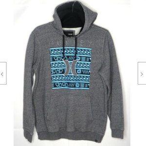 Hurley Men's Gray Logo Fleece Pullover Hoodie S